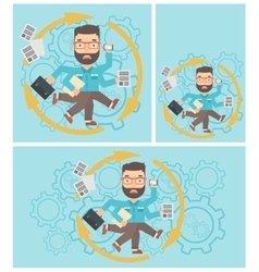 Businessman coping with multitasking vector image