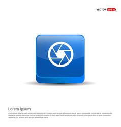 camera lens icon - 3d blue button vector image