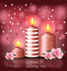 Candles and hearts romantic background valentine vector