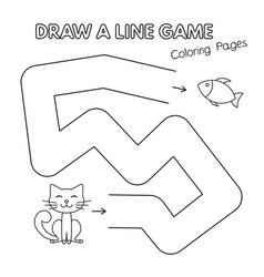cartoon cat coloring book game for kids vector image