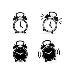 cartoon silhouette black alarm clock set vector image