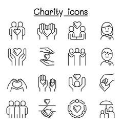 charity kindness friendship care icon set in thin vector image