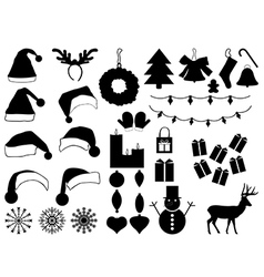 Christmas hats and decorations vector image
