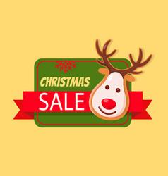 christmas sale label card gingerbread deer head vector image