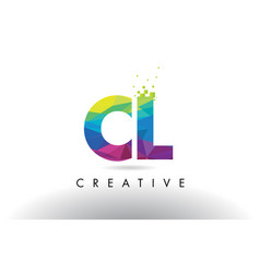 cl c l colorful letter origami triangles design vector image
