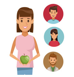 Colorful poster half body woman with apple fruit vector