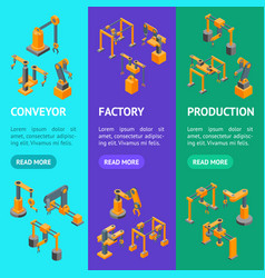 conveyor machines robotic hand banner vecrtical vector image