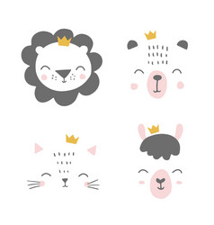 Cute simple animal portraits with crowns - bunny vector