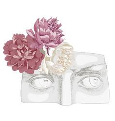 Davids eyes with peonies flowers vector
