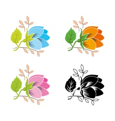 decorative flower set vector image