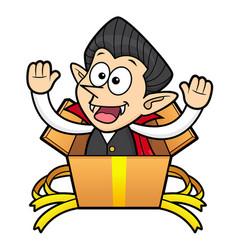 Dracula character is in big box halloween day vector