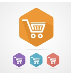 Flat shopping basket icon vector