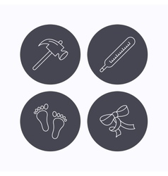 Footprint bow and thermometer icons vector image