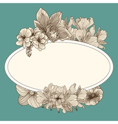 Frame with vintage flowers vector image