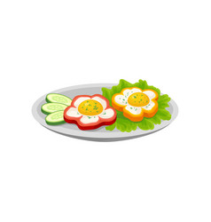 Fried egg and sweet pepper fresh nutritious vector