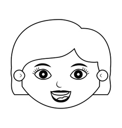 Front face girl silhouette with hair short vector