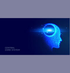futuristic artificial intelligence glowing face vector image