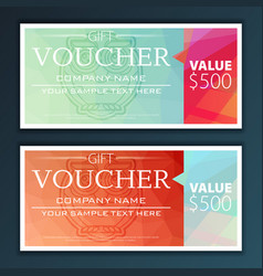 gift voucher template with modern flat pattern vector image