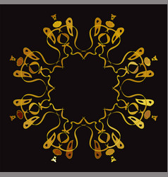 Gold circular ornament on black backgrounds vector