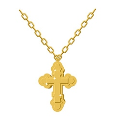 Golden cross necklace on chain of gold jewelry vector image
