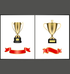 golden cups and shiny ribbons colorful poster vector image