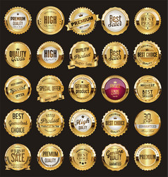 Golden retro sale badges and labels collection 2 vector
