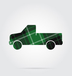 green black tartan icon - pickup with a flatbed vector image