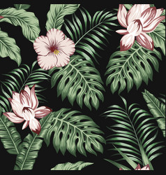 green tropical leaves brown flowers black vector image