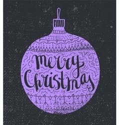 hand drawn Christmas card Lilac decorated vector image