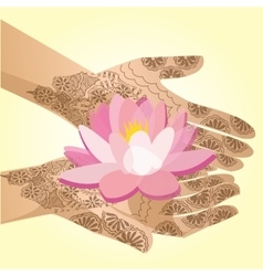 Hands decorated with henna indian woman holding a vector