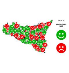 Happiness sicilia map composition of emojis vector