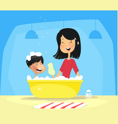 happy mother washes her baby vector image