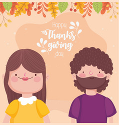 happy thanksgiving day couple fall leaves vector image