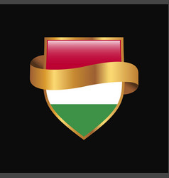 hungary flag golden badge design vector image