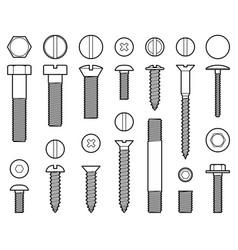 Industrial screws bolts nuts and nails line vector