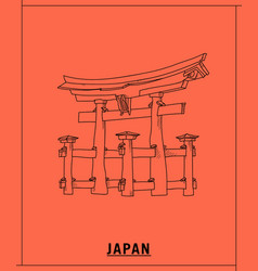 Japan shrinehand drawn sketch vector