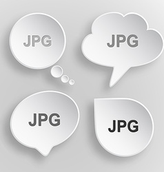 Jpg White flat buttons on gray background vector image