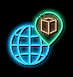 Kaaba geolocation on planet neon glow icon vector