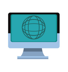 laptop computer globe connection technology vector image