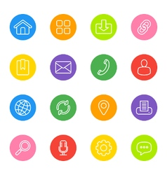 line web icon set on colorful circle vector image
