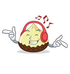 Listening music snake fruit mascot cartoon vector