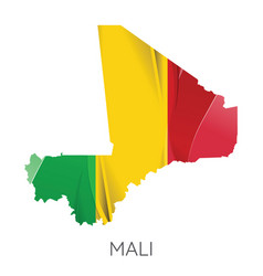 map mali with an official flag on white vector image