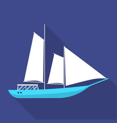Masted schooner ship icon flat style vector