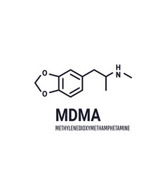 mdma structural chemical formula on white vector image