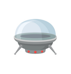 Metal alien spaceship with red lamps and glass vector
