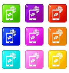 Mobile mail sign set 9 vector