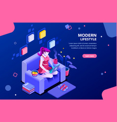 modern girl banner for website vector image