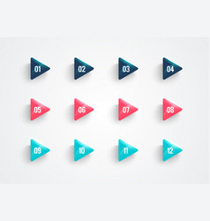 Modern triangle bullet points set with numbers vector
