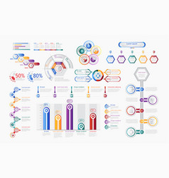 multicolored infographic charts in set vector image