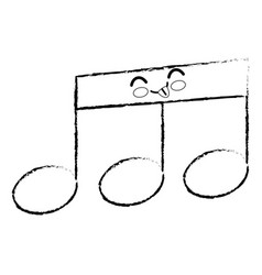 Musical note cartoon smiley vector